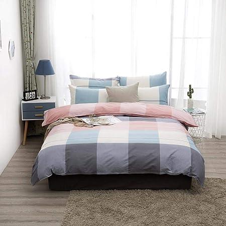 BLO Juego de ropa de cama de algodón con funda de edredón y funda de almohada para el hogar, color rosa y gris, 200 x 229 cm: Amazon.es: Hogar