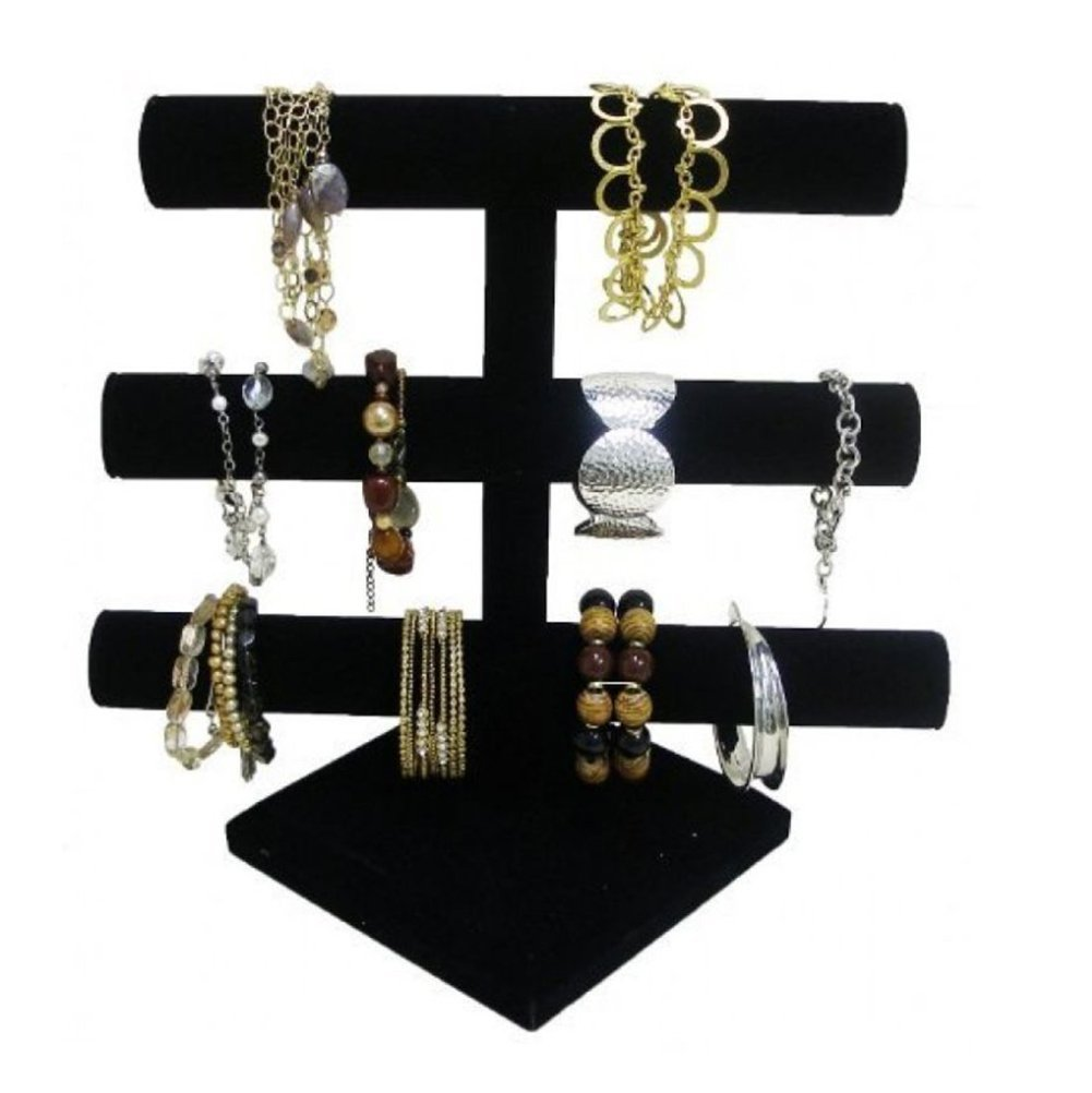 Super Z Outlet Black Velvet Level T-Bar Bracelet Necklace Jewelry Display Stand for Home Organization