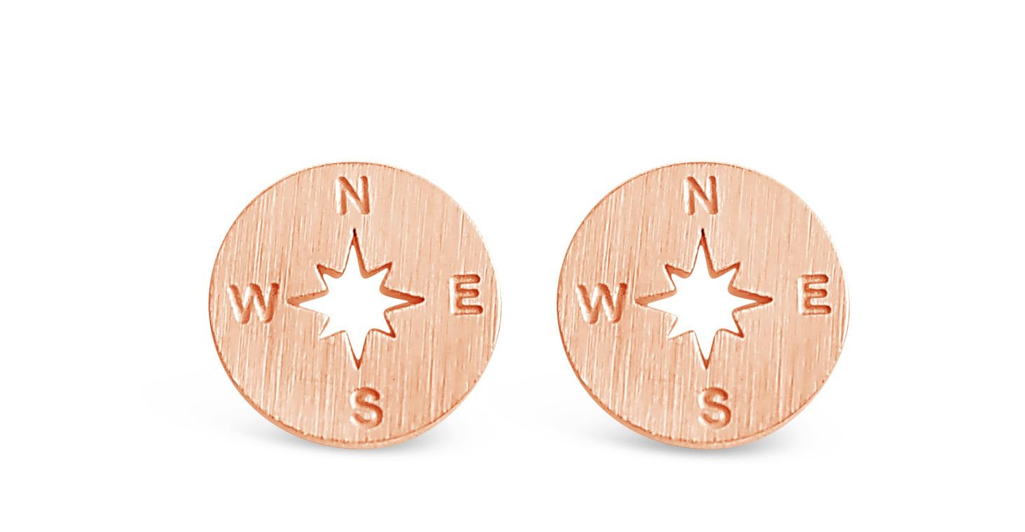Rosa Vila Compass Earrings - Direction of Life & I'd Be Lost Without You, Earrings for Going Away Gifts, Travel Gifts, College Graduation Gifts for Her (Rose Gold Tone)