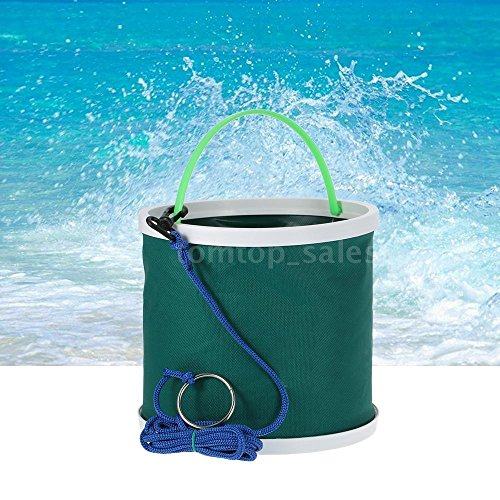 WALLER PAA Outdoor Folding Water Bucket Wash Clean Camping Hiking Fishing Bucket Green
