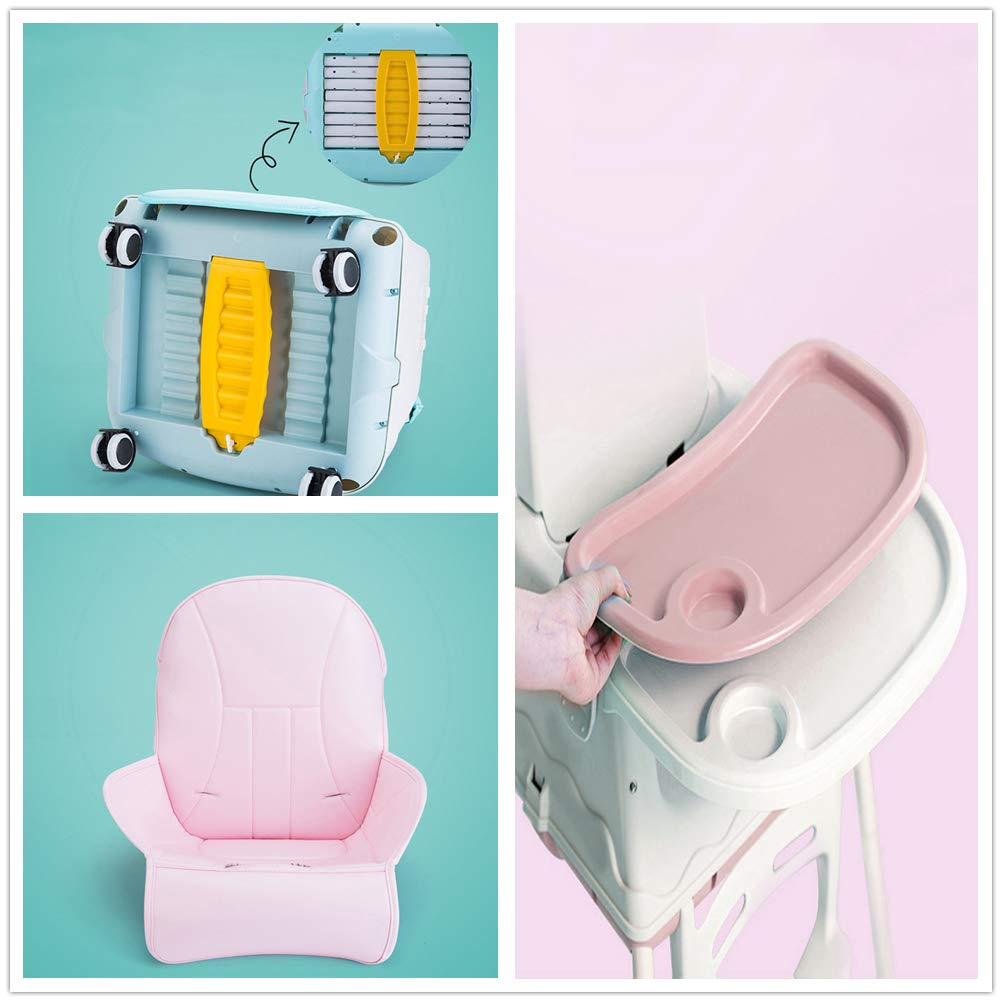 4 Wheels Comfortable Cushion Detachable Soft Leather 3 in 1 Baby Highchairs Adjustable for Height /& Backrest /& Safety Belt /& Tray Removable Baby Kids Toddler Infant Child Feeding Seat Chair Pink