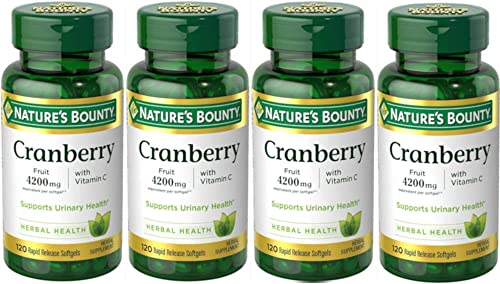 Nature s Bounty Cranberry Fruit 4200 mg, Plus Vitamin C, 120 Softgels Pack of 4