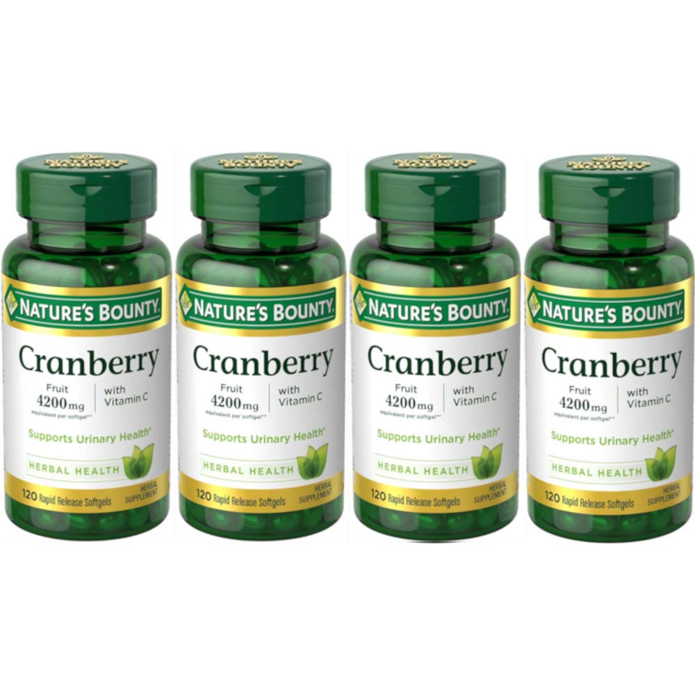 Natures Bounty Cranberry Fruit Plus Vitamin C, 4200mg 120 Softgels (4 Pack)