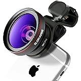 N.ORANIE スマホ用カメラレンズ 0.45倍 広角レンズ 15 X マクロレンズ スマホレンズ 5cm超大口径 クリップレンズ 2in1 自撮りレンズ iphone/Android全機種対応