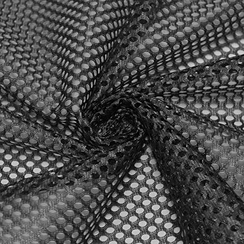 fan products of King Mesh Knit Fabric by the Yard, Football Fabric, Soccer Fabric, Basketball Jersey Fabric (Black)