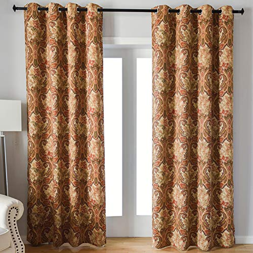 Kotile Grommet Top Blackout Curtains with Boho Paisley Pattern Design Print, 2 Panels Thermal Insulated Plant Leaves Fern Luxurious Soft Window Panels for Living Room (W52 X L84 Inches, Yellow) ()