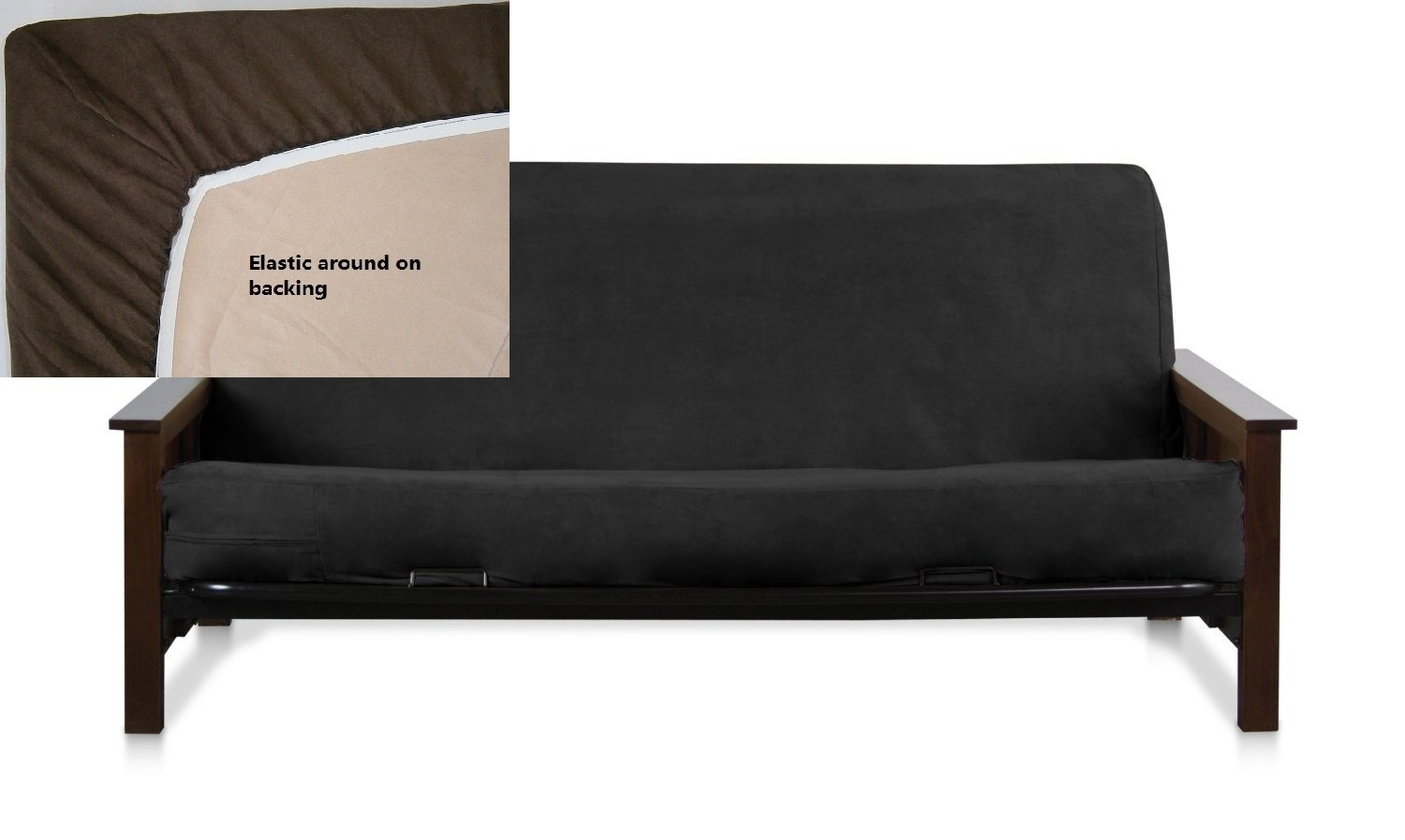 amazon    octorose full size elastic bonded micro suede easy fit fitted futon cover  black   home  u0026 kitchen amazon    octorose full size elastic bonded micro suede easy fit      rh   amazon