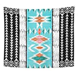 Emvency Tapestry Polyester Fabric Print Home Decor Orange Tribal Aztec Geometric Ethnic Ornamental Style Native American Indian Wall Hanging Tapestry for Living Room Bedroom Dorm 50x60 Inches