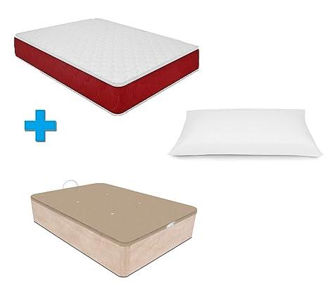 Duermete Canapé Abatible Gran Capacidad + Colchón Viscoelástico Reversible + Almohada Tacto Seda, Cambria,