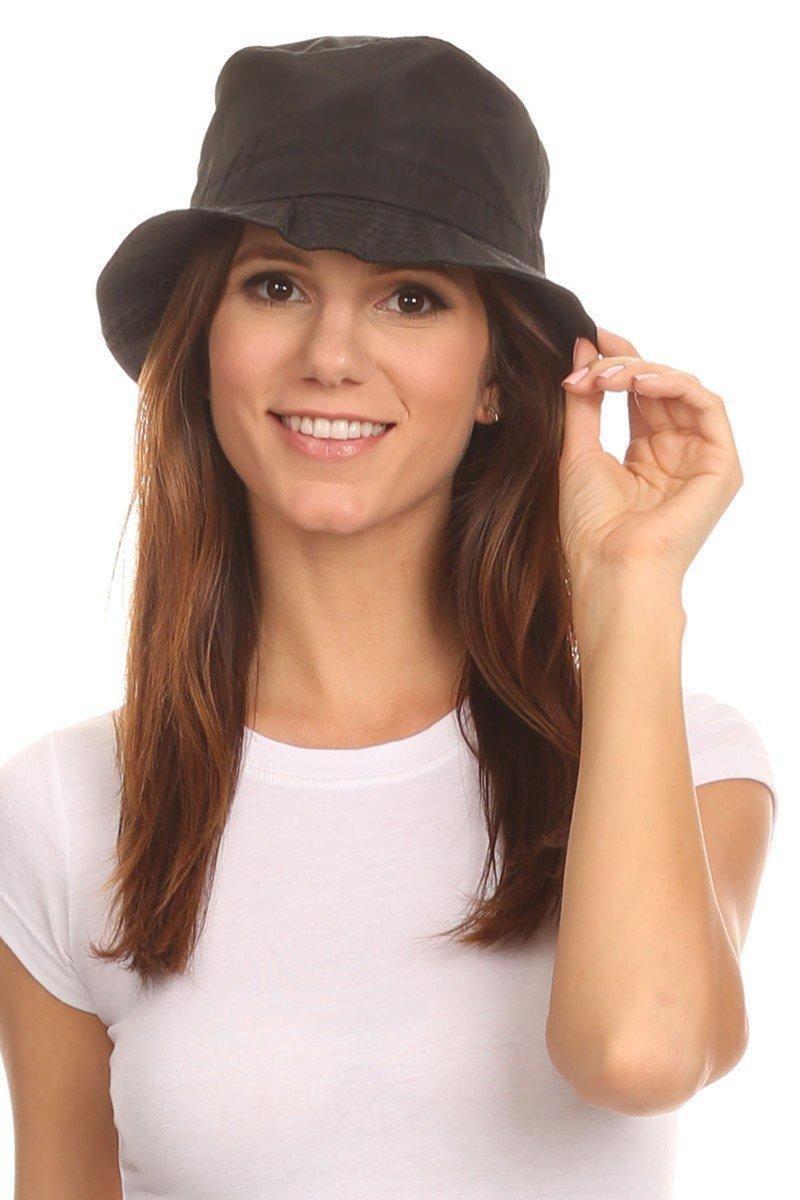 LL. Black Mens Packable Bucket Rain Hat Ladies Lightweight Comfortable Large
