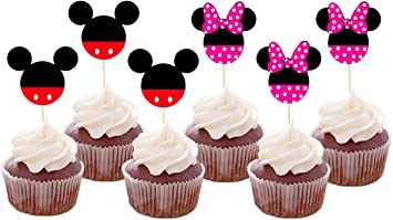 Outstanding Set Of 24 Pieces Cute Mickey Minnie Mouse Cupcake Toppers Kids Funny Birthday Cards Online Necthendildamsfinfo