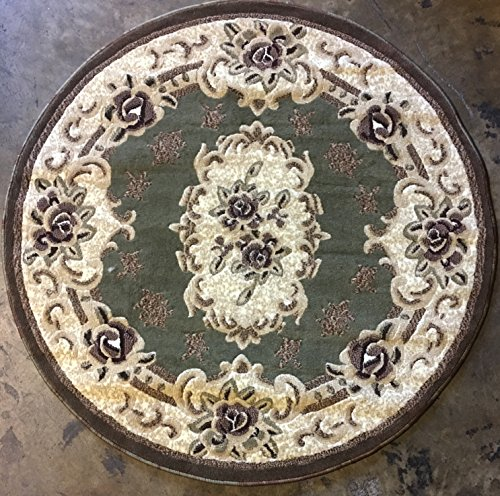 Traditional Floral Round Aubusson Area Rug Sage Green Design 507 (4 feet X 4 feet Round)