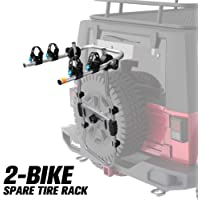 FIERYRED 2-Bike Spare Tire Rack, 75 lb. Capacity Spare Tire Bicycle Carrier, Adjustable Bolt-On Spare Tire Rack