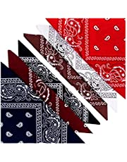 KEVOLLA Bandana katoenen doeken voor heren, bandana, halsdoek, katoenen bandana's, 55 x 55 cm