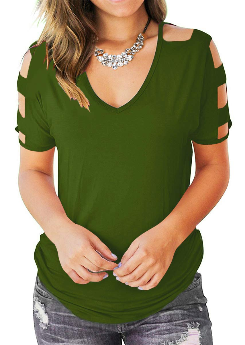 Eanklosco Womens Summer Short Sleeve Cold Shoulder Tops V Neck Basic T Shirts (Green, XL)