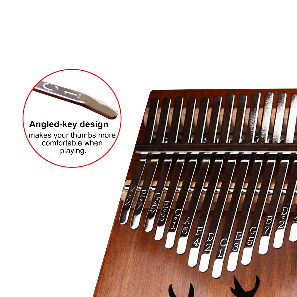 Kalimba 17 keys Thumb Piano Solid Finger Piano with Zippered Carry Bag Study Instruction Tuning Hammer by Bestfit4U (Image #4)