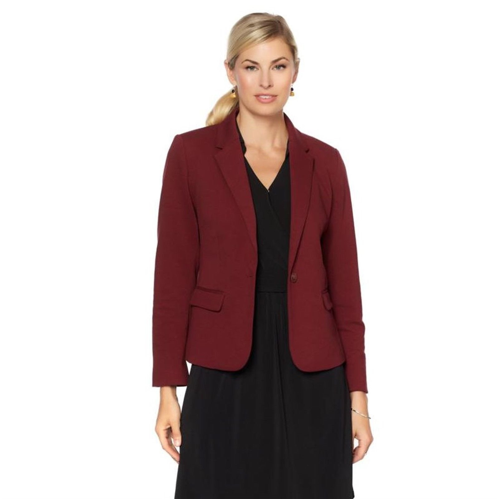 Samantha Brown Travel Security Blazer RFID Pocket 572-040, Burgundy, M
