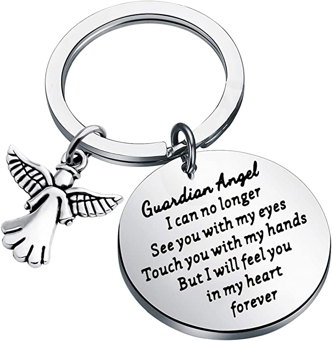 Blue Guardian Angel Keyring Gift Protection