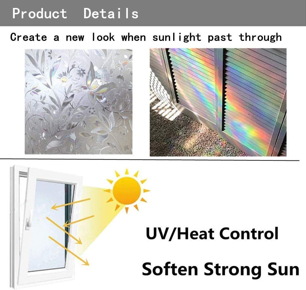 Decorative Window Film No Glue Bathroom Glass Film for Kitchen//Sliding Door Soqool Static Cling Window Privacy Film 1 Roll,17.7x 78.7 Heat//UV Control Privacy Vinyl Film