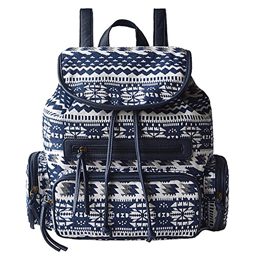 BYD - Mujeres Bolsos mochila Bag Colorful Printed Flower School Bag Bolsa de viaje Vintage Style Azul