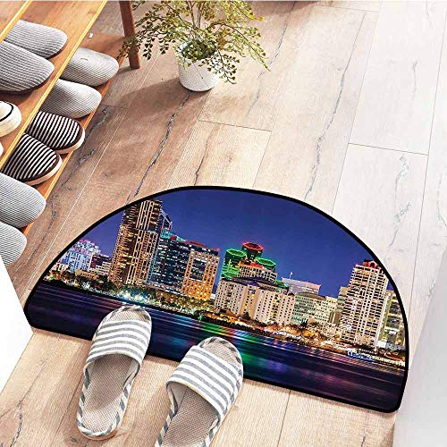 SEMZUXCVO Entrance Door mat Apartment Decor Collection Colorful Skyline San Diego at Night North San Diego Bay Boats Architecture Urban Picture Personality W30 x L18 Navy
