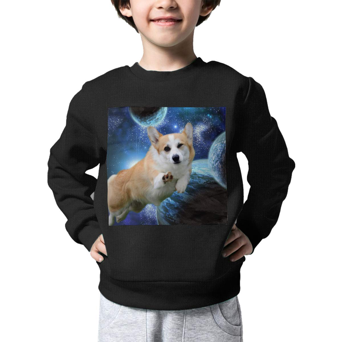Space Corgi Kids Pullover Sweater Warm Crew Neck Knitted Sweater for 2-6T