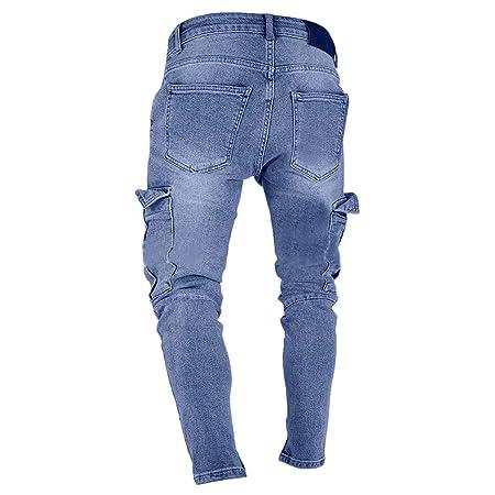 Pantalones Vaqueros Rotos Hombre, LMMVP Pantalon Skinny Slim ...