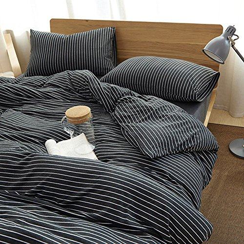 MisDress Ultra Soft Jersey Knit Cotton Striped Pattern 3 Pieces Duvet Cover Set Soft and Durable Comforter Cover and Pillow Shams Black White Stripes Queen - Queen Duvet Black