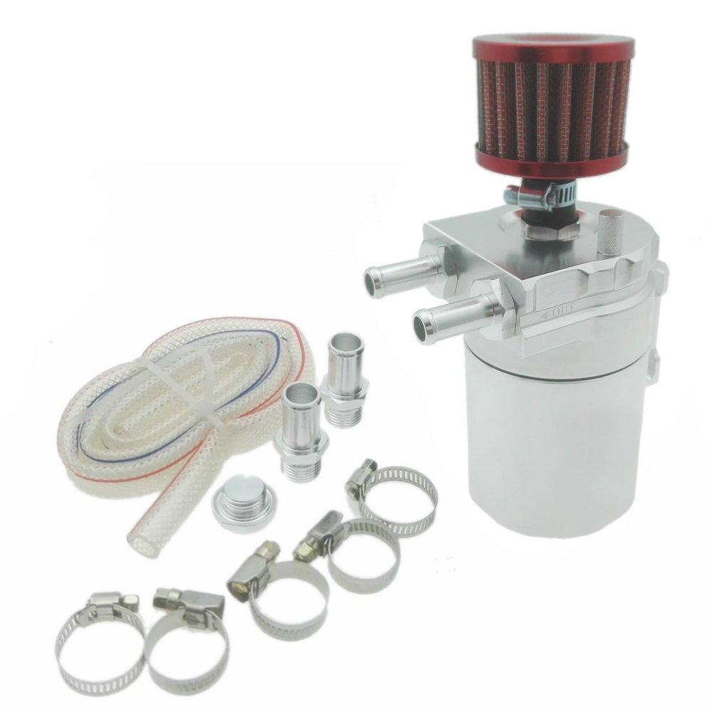 heinmo Universal Aluminium /Öl Catch Tank kann geschlossen Schleife mit Bel/üftungsfilter Silber
