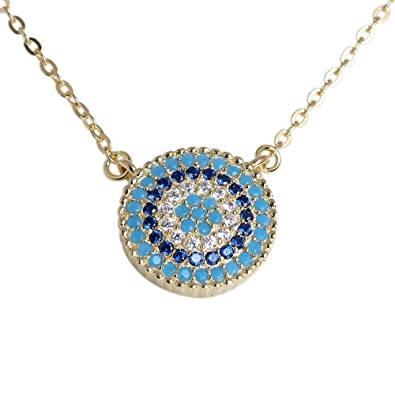 Kaletine Round Blue Evil Eye Necklace Gold Plated Sterling Silver