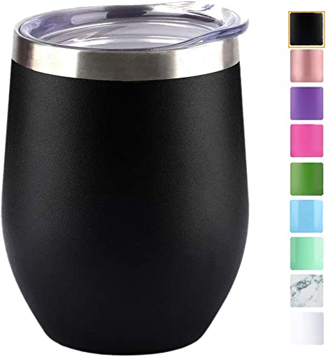 12 oz Wine Tumbler Glasses W//Lid  Double Wall Vacuum Insulated Stainless Steel