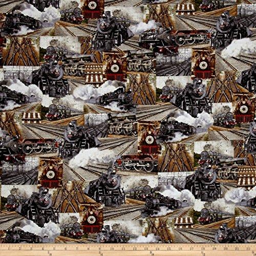 Benartex Kanvas Railway Express Railway Collage Multi Fabric By The (Railway Yard)
