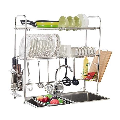 Amazon.com: Estante de cocina escurridor de platos de acero ...