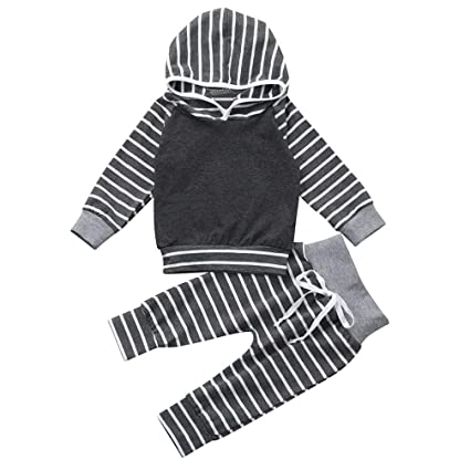 e959eda3c Amazon.com: Gotd Newborn Infant Baby Girl Boy Clothes Winter Striped Hooded  Tops+Pants Autumn Outfits Gifts (6-12Months, Gray): Musical Instruments