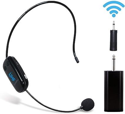 Auriculares inalámbricos UHF con micrófono Recargable para amplificador de voz Sistema de sonido de audio Altavoz externo Perfecto para amplificador de voz, sistema de megafonía para la enseñanza: Amazon.es: Instrumentos musicales