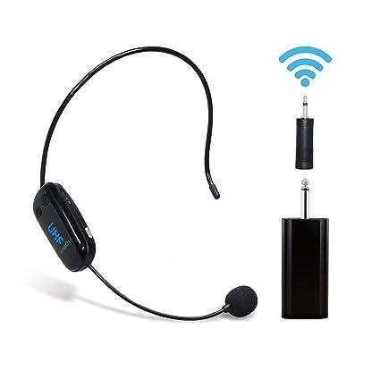 Auriculares inalámbricos UHF con micrófono Recargable para amplificador de voz Sistema de sonido de audio Altavoz