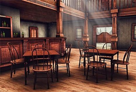 YongFoto 3x2m Vinilo Fondo de Fotografia Vintage Restaurante Moderno Interior Mesa de Madera Sillas Los Rayos