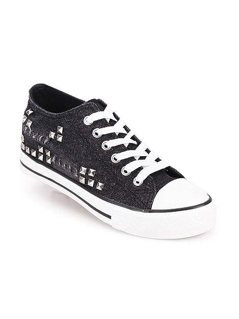 MAIRA - Zapatillas de Tela para Mujer Negro Size: 36 EU
