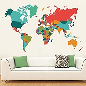 "WeAlake Colourful World Map Wall Decals Peel and Stick Removable Wall Stickers DIY Art Decor Mural Vinyl Home Kids Room Office Decal (42.3"" X 23.6"")"