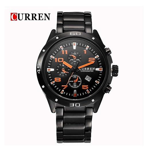 CURREN Relojes Racing hombres de la manera impermeable de los deportes del reloj de la naranja: Amazon.es: Relojes