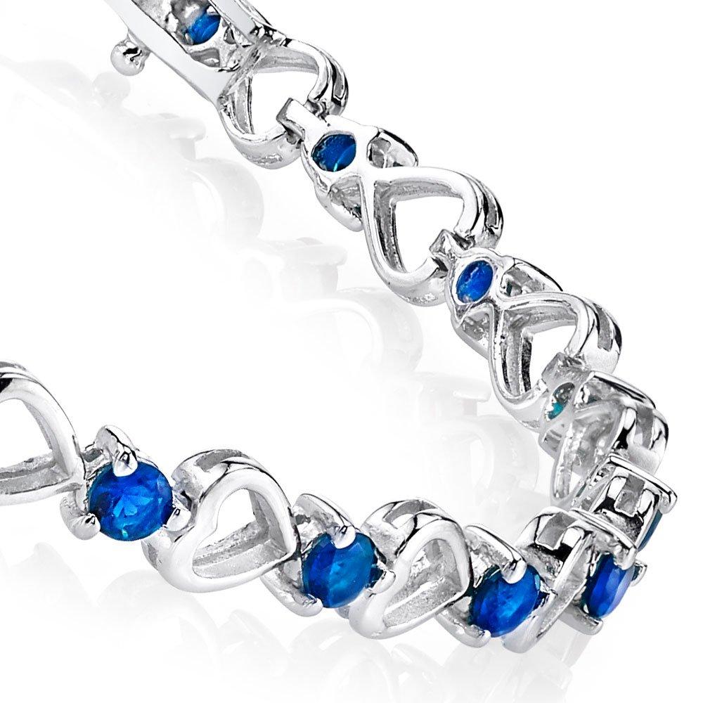 925 Sterling Silver Blue Sapphire Heart Cubic Zirconia Tennis Bracelet CZ Love