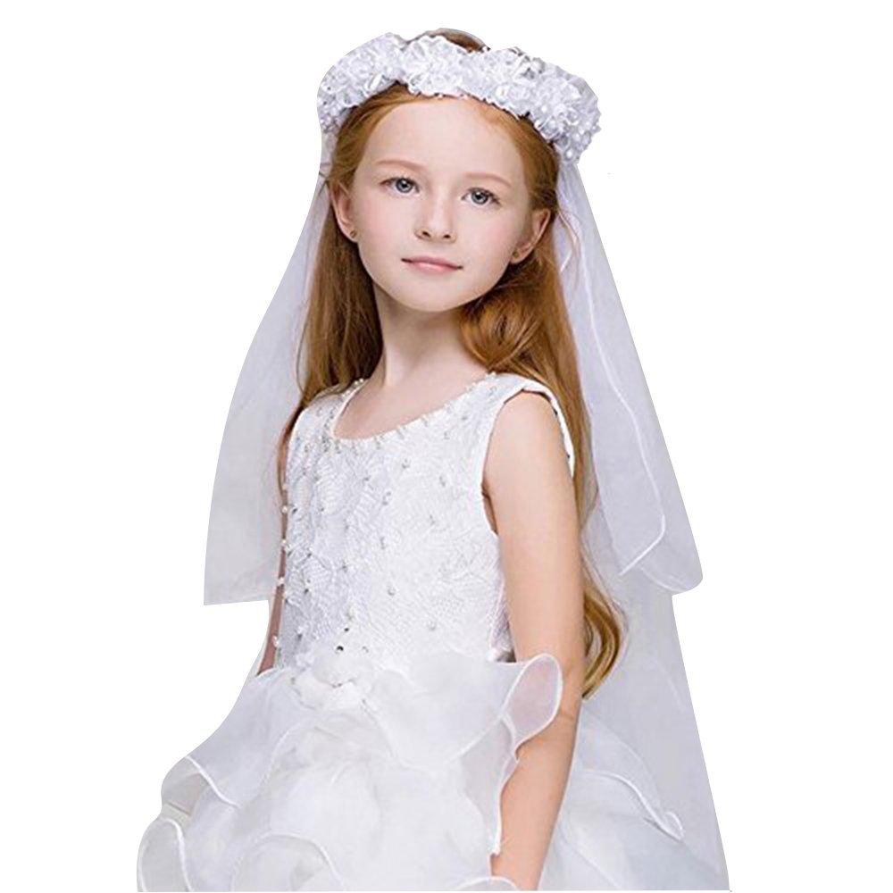 Wedding Bridal/Flower Girls Short Head Veil Headband Kids for Baptism Communion