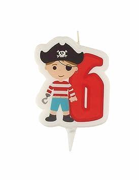Vela de cumpleaños Pirata Número 6 talla única: Amazon.es ...