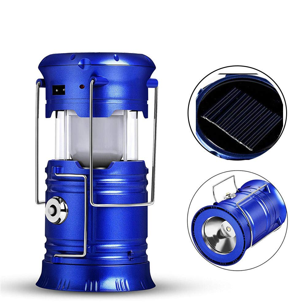 JJNGJ LED Camping Lantern Flashlights Collapsible Solar Tent Light Gear Equipment for Outdoor Hiking Emergencies Dark Blue