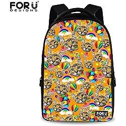 Cat Backpack Leisure Yellow Cat Animal Backpack Laptop Backpacks for Teens 61ed3073d0e2e