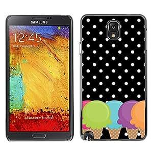 Caucho caso de Shell duro de la cubierta de accesorios de protección BY RAYDREAMMM - Samsung Galaxy Note 3 N9000 N9002 N9005 - Cone Polka Dot Black White