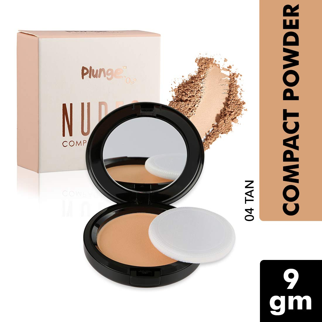 O3+ Plunge Nudes Compact Powder Makeup Foundation for Even Tone, Blemish and Imperfection Cover with Sponge and Mirror (04 TAN, 9 GM)