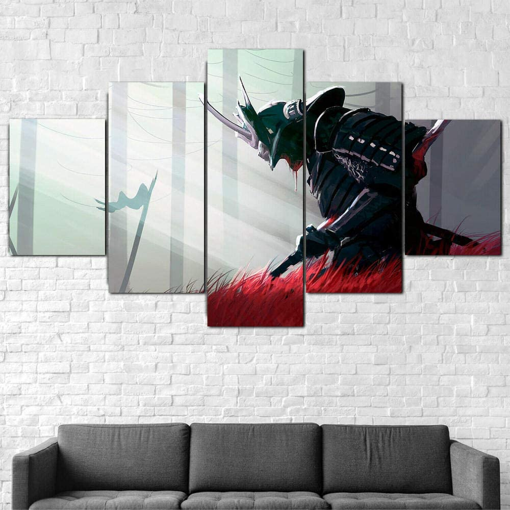 Luck7, 5 Panel Wall Art Painting, Samurai Sword Blood Pictures Prints On Canvas Decor Oil for Home Modern Decoration Posters -150x80cm