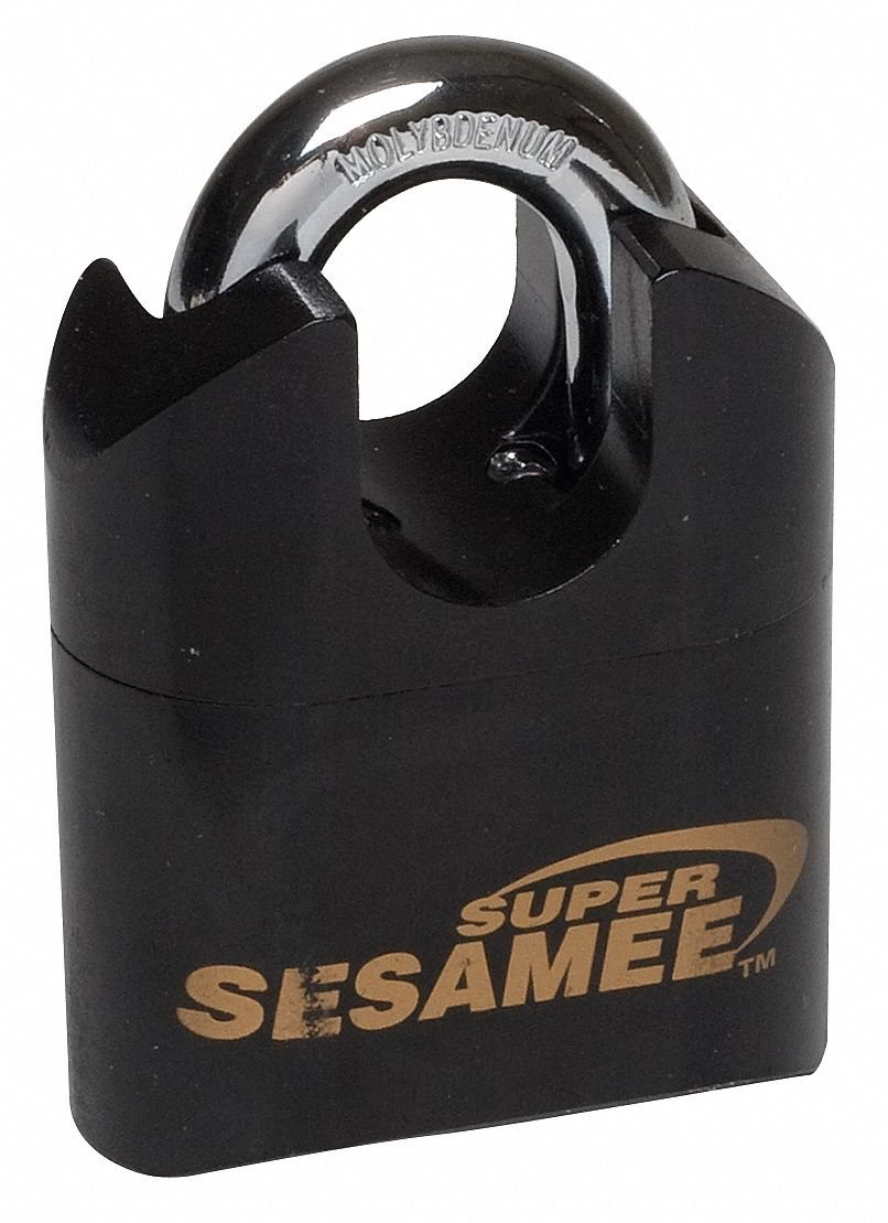 Sesamee K2621PC 4 Dial Front Faced Resettable Combination Padlock with 2.5 Inch Hardened Steel Shackle and 10,000 Potential Combinations,Polished Chrome by Sesamee