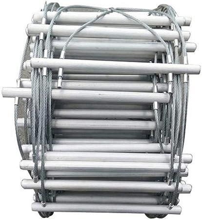 MAYKO Escalera de Cuerda Escape Alambre de Acero Incendios Escalera Seguridad de Emergencia Resistente al Fuego Ganchos Anillo,Peso del rodamiento 500kg,Niño Adulto Escapar de la Ventana Balcón,15m: Amazon.es: Hogar